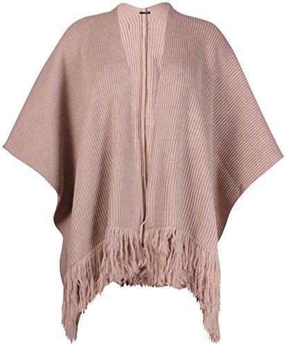 femmes grande taille MANCHE CHAUVE-SOURIS FEMMES tricot côtelé Gland long PONCHO CAPE HAUT Moka