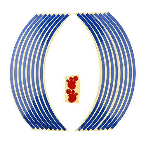 Baoblaze 4 pcs strisce adesive 17'' pre curvo nastro autoadesivo riflettente motocicletta - blu