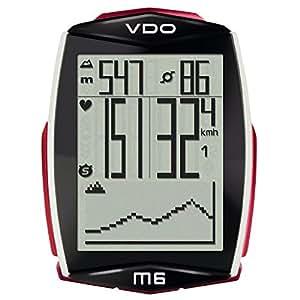 VDO Ciclocomputer M6 Wireless con Sensore di Velocità, Nero/Bianco/Rosso