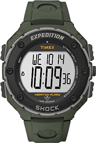Timex Expedition Men's Digital Watch with LCD Dial Digital Display and Green Resin Strap T49951SU