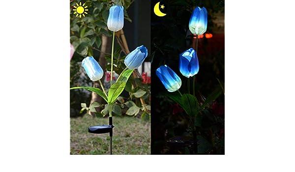 Lampada Fiore Tulipano : Tonver esterno solare tulipano fiore led solare da giardino a fiori