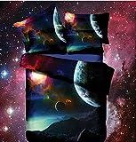 Bettdecke, Galaxie, 3D, Öl-Druck, Baumwolle, Federdecke, Geheimnisvoller Nachthimmel, Bettbezug-Set und Kissenbezug-Set, Kingsize, 4Stück (inklusive Bettbezug + Bettlaken + 2Kopfkissenbezüge) I