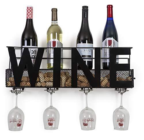 Besti Premium Wandhalterung, Metall, mit Aufschrift-by, horizontal, Schwarz, Deko, stabile Konstruktion, Home Décor für Küche oder Wohnzimmer Wein -
