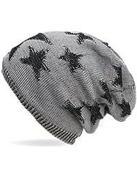 Kandharis warme Feinstrick Beanie Mütze mit Sterne Stern Muster und weichem Fleece Innenfutter Slouch Longbeanie Unisex MT-23