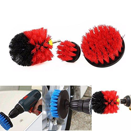 Ocamo Geburtstagsgeschenk | Männergeschenke,Fliesen-Mörtel-Energien-Wäscher-Reinigungs-Bürsten-Reiniger stellte für elektrische Bohrmaschinen 3Pcs / Set EIN red -