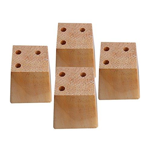 Sofa-fuß (Yibuy 4x Holz Kiefer Natur Trapez Sofa Füße Möbel 8cm Höhe)