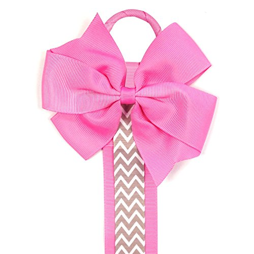 and Hair Bow Holder, Hot Pink Chevron ()