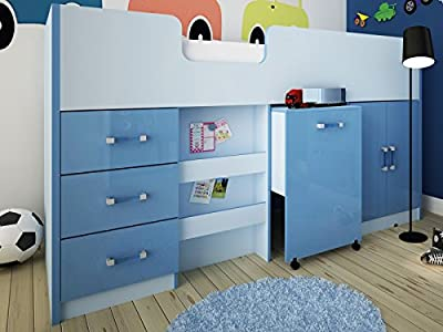 Ottawa Caspian High Gloss Midsleeper Bed with Drawers, Bookcase, Desk & Cupboard - Blue or Pink - Two Tone