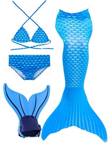 Meerjungfrau Kostüm Eine Schwanz - onlight Meerjungfrau Badeanzug 4pcs Bikini Sets mit Meerjungfrau Flossen Mädchen Schwimmen Cosplay Kostüm für Kinder