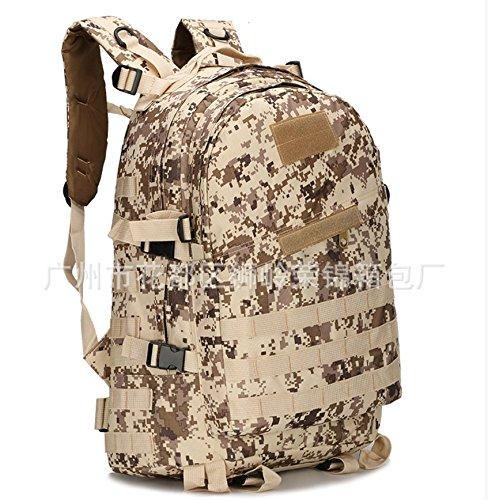 Impermeabile Alpinismo Oxford bag zainetto uomo doppia sacca borsa a tracolla camouflage outdoor sports zaino 46*33*18cm, python stria mud colour Deserto Digital