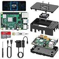 Raspberry Pi 4 Model B 4GB RAM TICTID Starter Kit Aggiornato Raspberry pi 3 con MicroSD Card 32GB, Tipo C Alimentatore 5V 3A con Interruttore, Ventola, Micro HDMI, Custodia e Lettore di Scheda