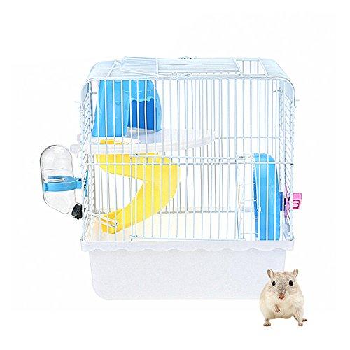 petacc Hamsterkäfig tragbar Pet Habitat klein Tiere Box mit Bewässerung, Futterspender, Rutschbrett und Laufrad (Tragbare Kleine Tier Käfig)