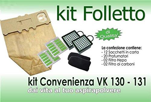 comprare on line SUPER KIT ASPIRAPOLVERE FOLLETTO VK 130 VK 131 12 SACCHETTI 20 PROFUMI 2 FILTRI - EGLEMTEK® TM prezzo
