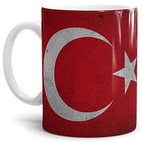 Tassendruck Flaggen-Tasse Türkei Retro-Style - Kaffeetasse/Mug / Cup - Qualität Made in Germany