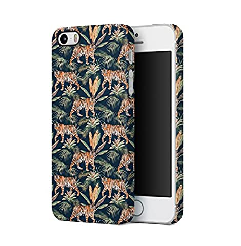 Tropical Jungle Tiger Pattern Apple iPhone 5 , iPhone 5S , iPhone SE Snap-On Hard Plastic Protective Shell Case Cover Coque Housse Etui