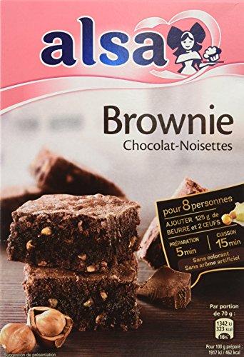Alsa Préparation pour Brownie Chocolat Noisettes 340g - Lot de 3