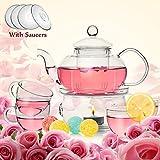 TAMUME Classic-Stil Blühende Glas Tee-Set Inklusive 1 * 600ml Teekanne und 1 Tee-Wärmer mit 4 Tassen und 4 Untertassen Glasgeschirr Teekanne und Tee-Set