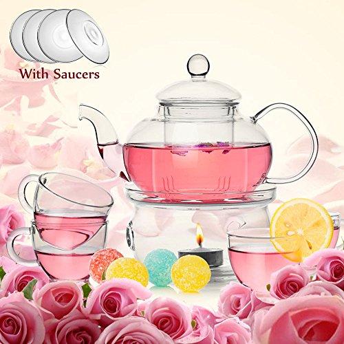 TAMUME Classic-Stil Blühende Glas Tee-Set Inklusive 1* 600ml Teekanne und 1 Tee-Wärmer mit 4 Tassen und 4 Untertassen Glasgeschirr Teekanne und Tee-Set