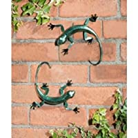 2 x Wall Art Metal Decorative 3D Garden Ornament Hanging Lizard Indoor /Outdoor deco Green from Gecko