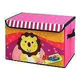 Dazonyang Pieghevole Fumetto Lion Scatola di Giocattoli Ordinamento Box con Coperchio per Bambini (38*25*25cm)