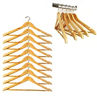 Grids London Ltd 20 Wooden Coat Hangers Clothes Suit Hanger Bar Trouser Skirt Pants Organiser Pack