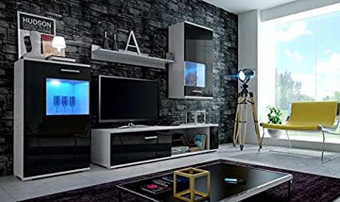 EVE Modern Living Room Furniture Set, Exclusive Entertainment Unit With Shelves, Brand New Suite, TV Stand / Cabinet / Shelf, Push To Open / Standard Handles Wall Cabinets, Mat / High Gloss, Black / White / More Colours, Free Delivery (RGB LED Lighting Available) (White MAT base / Black HG front,