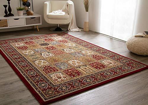 Steffensmeier Wohnzimmerteppich Classical Quality | Kurzflor Teppich rot, Größe: 160x230 cm, Ghom Perserteppich orientalisch gemustert