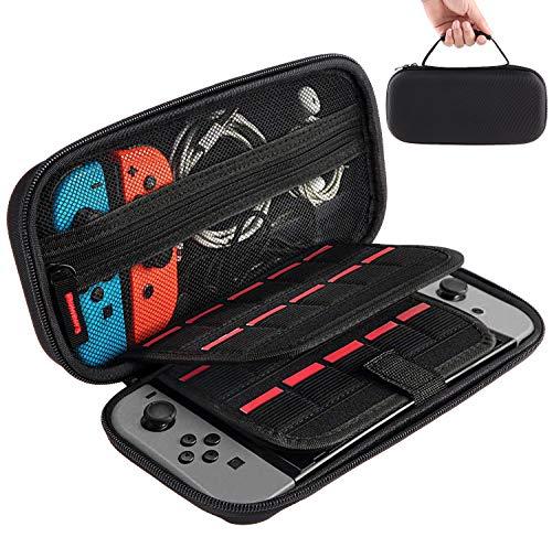 LINCCI Für Nintendo Switch Tasche, Tragetasche mit Spielpatronen Aufbewahrungstasche Hartschalentasche Schutztasche Reisetasche Hülle für Nintendo Switch Konsole, Joy-Cons, USB-Ladekabel und Zubehör