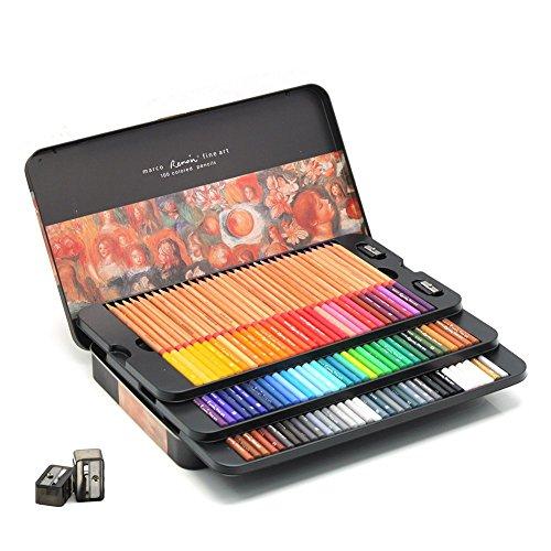 laconile Premium 100Farben Buntstifte Öl Buntstifte zum Zeichnen Skizzieren Künstler mit Bleistift Tin Box für Zeichnungen Erwachsene Malbücher Secret Garden Malbuch 100 colours