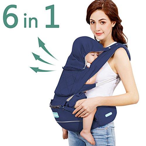 Windsleeping Portabebe Ergonómico con Asiento,Mochila Porta Bebé Puro algodón Ligero apto para bebés, niños pequeños y recién nacidos- azul oscuro