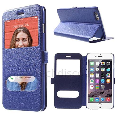 Housse etui coque portefeuille view case pour Apple iPhone 6 (4.7) + film ecran - NOIR Bleu view