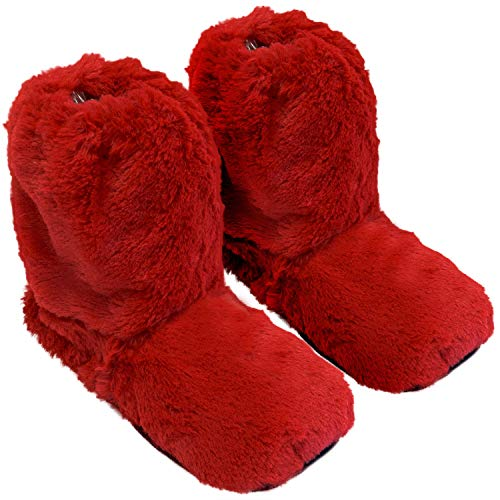 Thermo Sox Original Supersoft Hoch Hausschuhe für Ofen & Mikrowelle, Farbe:Rot, Schuhgröße:36/40 EU - Kuscheligen Hausschuhe