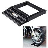 Soporte del Rodillo de Limpieza de Cadena de Rueda de Neumático de Moto Marco de Aluminio del Rodillo de la Motocicleta Carga Maxima 400KG (Negro)