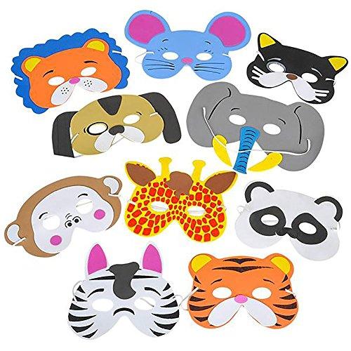 Rhode Island Novelty 12sortierte Schaumstoff Tier Masken für Geburtstag Partyzubehör verkleiden (Kostüm Island Rhode)