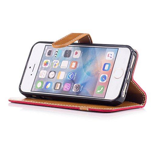Apple iPhone SE 5 5S Hülle, SATURCASE Prämie Jeans Stil PU Lederhülle Ledertasche Magnetverschluss Flip Cover Brieftasche Case Handy Tasche Schutzhülle Handyhülle mit Standfunktion Kartenfächer und Ha Rot