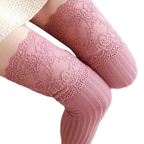 , YunYoud Mädchen Winter Über Kniestrümpfe Weich Baumwolle Spitze Lange Socken Frau Mode Strümpfe Beiläufig Kuschelsocken (62cm, Rosa) (Rote Spitzen-strumpfhose)