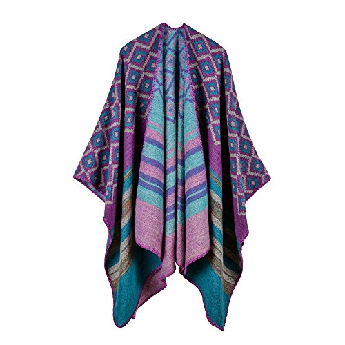 QUROENS Frauen Winter Gestrickte Faux Cashmere Plaid Linie Jacquard Poncho Capes Plus Size Schal Strickjacken Pullover Mantel Decke Schallila