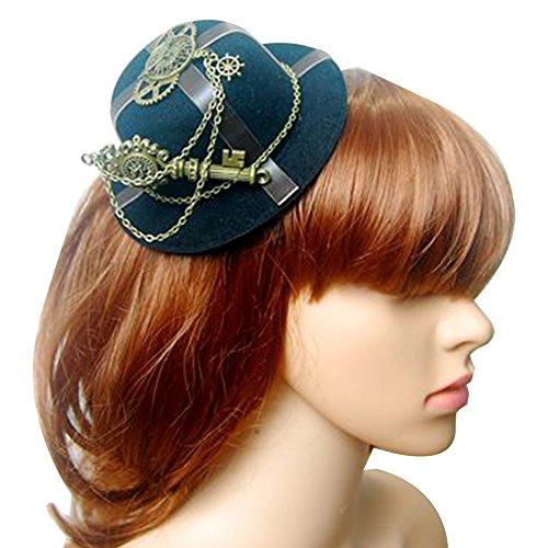 Mini sombrero Clip gótica mujer Steampunk Gang alas reloj mariposa sombrero encaje cabello Clip chapellerie (C)