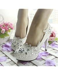 JINGXINSTORE Cordones nupciales de la boda de la flor blanca del diamante Cordón del partido de tarde de los altos...