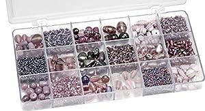Gütermann / KnorrPrandell 6050310 - Caja con perlas de cristal para bisutería (tamaños surtidos), color morado importado de Alemania