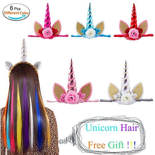 MIMIEYES Einhorn Horn Kopfbedeckungen Mädchen Ohren Blume Haarband Geburtstag Party Cosplay Foto...