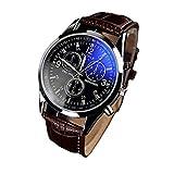 Amsion Marea lujo Blue Ray cuero de imitación de cuarzo analógico reloj de las hombre (marrón)