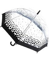 Womens/Ladies Transparent Polka Dot/Heart Print Dome Walking Umbrella