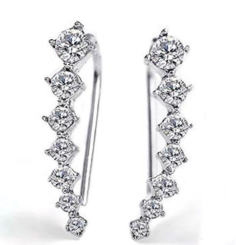 1 Paar Strass Ohrringe Ohrstecker Ohrschmuck 925Silber Plattiert Ohrhaken Steine (Baby Ohrhaken)