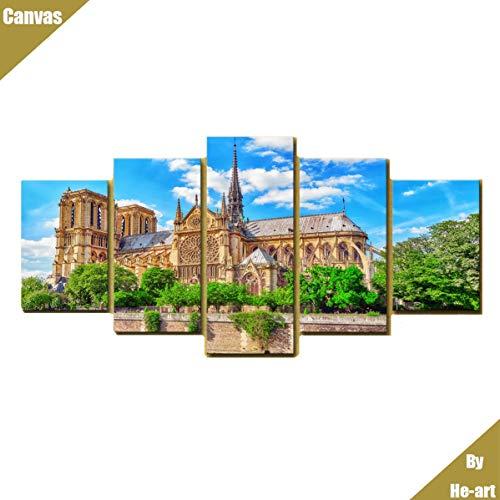 Notre-dame-artwork (Wandkunst für Wohnzimmer Leinwand gedruckt Gemälde Bild Artwork Notre Dame de Paris Fotoplakat,6)