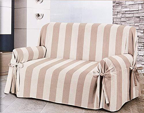 Homelife - copridivano a due posti - elegante salvadivano 2 posti a motivo rigato - telo in cotone per copertura divano, protezione da polvere, macchie e usura alta qualità made in italy - beige