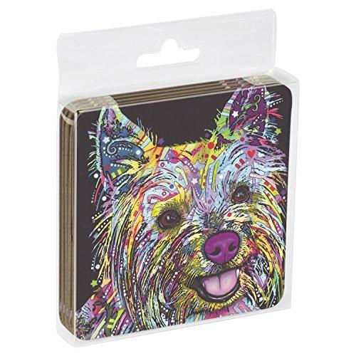 Tree-Free mit 961973,75x 3.75-inch Shaggy Tales Hunde mit Dean Russo Cork-Backed Untersetzer, Set mit 4