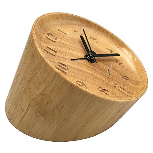 Ailiebhaus Kleiner Runde Wecker Holz Tischuhr Stille Tisch Buchenholz,9x9x8cm
