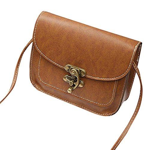 Tonsee Crossbody Tasche,Damen Retro Leder Schulter Bote Coin Bag mit Simple Lock Braun