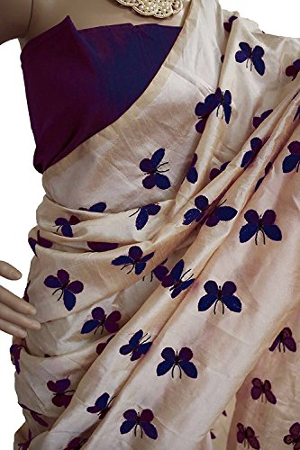 MACUBE Pure Chanderi Cotton Beige and Purple Color Saree With Blouse Piece...